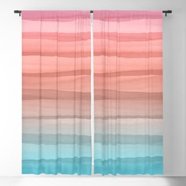 Colorful Watercolor Lines Pattern Blackout Curtain