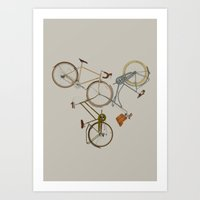 bicycles Art Prints featuring bicycles by Golden Boy