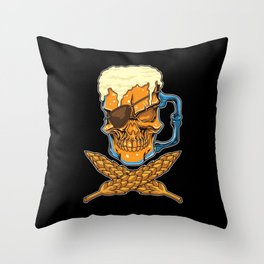 Beer Skull - Brewer Pirate - Brewery Throw Pillow