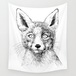 Fox portrait, ink drawing Wall Tapestry