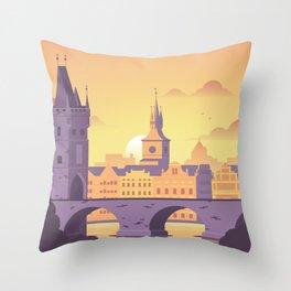Prague Czech Republic Travel Print Throw Pillow