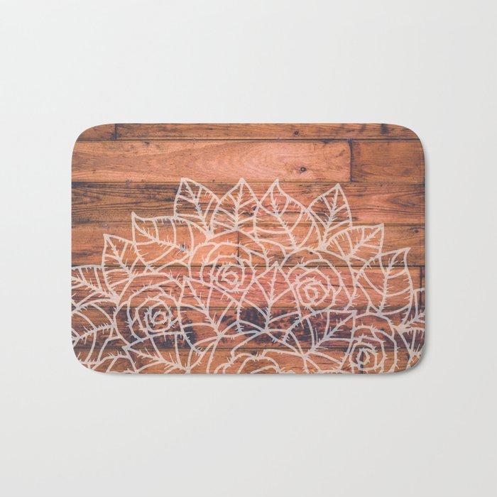 Wood Mandala I Bath Mat