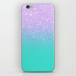 Modern mermaid lavender glitter turquoise ombre pattern iPhone Skin