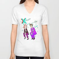 mulder V-neck T-shirts featuring Mulder & Scully glitch  by Paisleysaurus