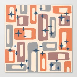 Retro Mid Century Modern Abstract Pattern 926 Orange Brown Gray Canvas Print