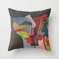 faces Throw Pillows featuring faces by loomy