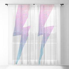 color splash lightning bolt Sheer Curtain